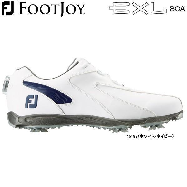 【20年継続モデル】 フットジョイ ゴルフシューズ ニューイーエックスエル スパイク ボア (Men's) 45189 (ホワイト/ネイビー) 横幅(ウィズ)/W FOOTJOY