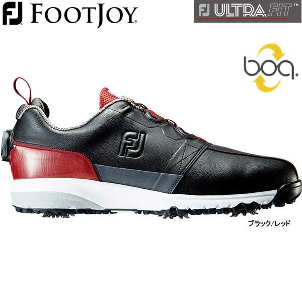 【大特価】 【19年継続モデル】フットジョイ メンズ シューズ FJウルトラ フィット (Men's) 54146 (ブラック/レッド) FOOTJOY 横幅(ウィズ)/W FJ ULTRA FIT