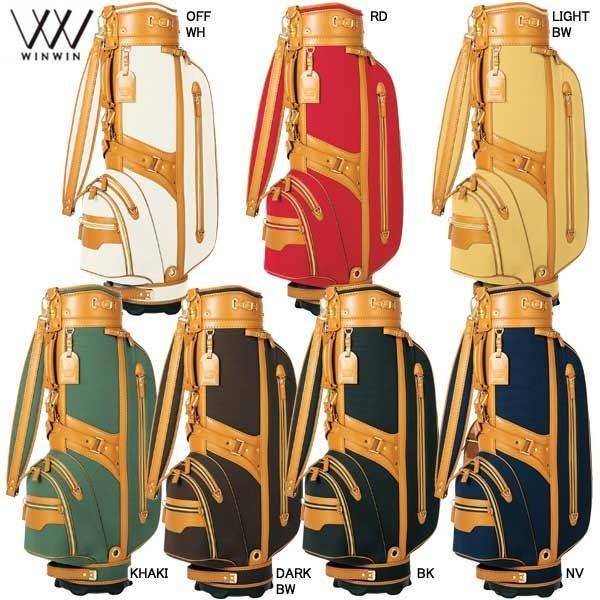 【19年継続モデル】ウィンウィン メンズ [クラシックモデル] 本革x帆布 キャディバッグ スピリット ゴールドVer. (Men's) WINWIN SPIRITS