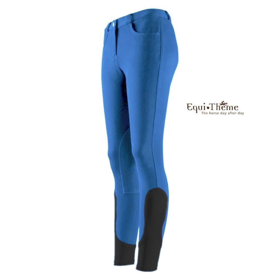 ジュニア用 乗馬キュロット ECF3(水色×黒) 子供用 パンツ ズボン Equi-Theme 共布