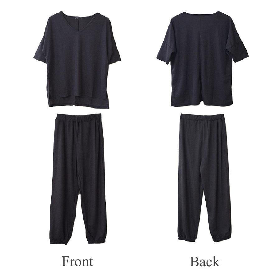 ルームウェア セットアップ パジャマ 半袖 トップス パンツ 上下セット 部屋着 Vネック スリット おしゃれ ベージュ ブラック 黒 フリーサイズ JOCOSA 8428|jocosa|19
