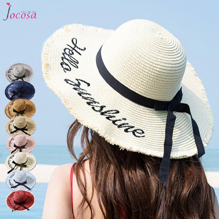 刺繍ロゴ麦わら帽子