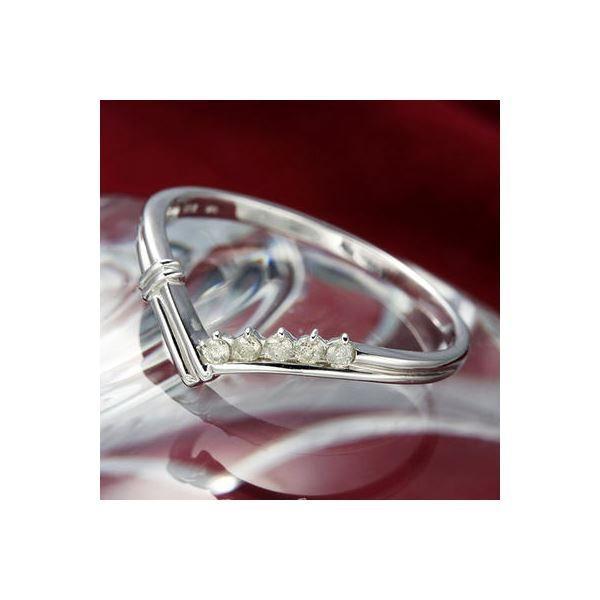 【好評にて期間延長】 K14ダイヤリング 指輪 Vデザインリング 19号, アトム興産 f5b506fc