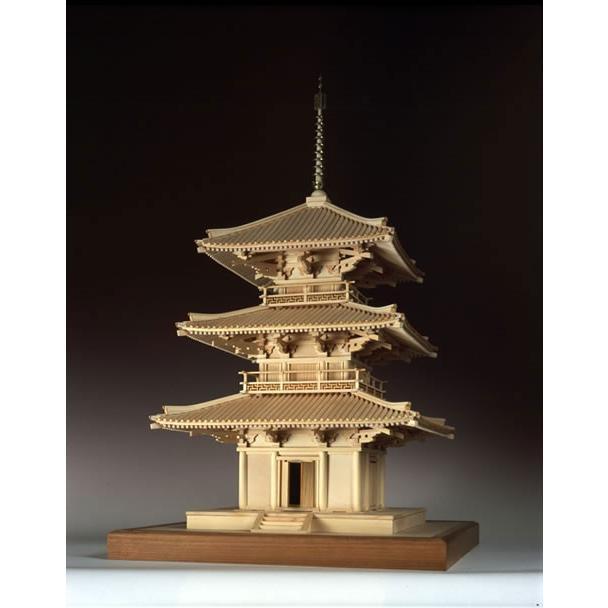 ウッディジョー 1/ 50 木製模型 法起寺 三重塔 ※レーザーカット加工 返品種別B