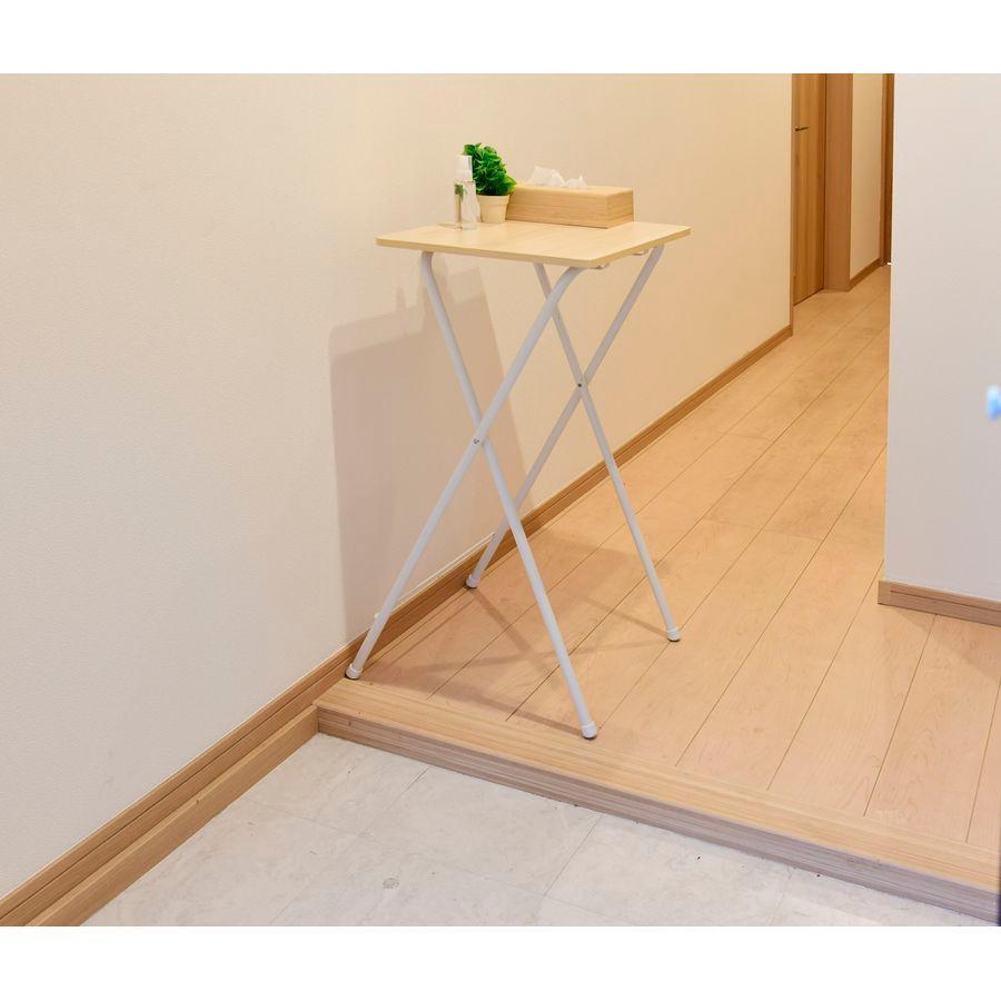 山善 折りたたみ式ミニテーブル ウッドナチュラル ホワイト 幅50cm×奥行48cm×高さ90cm サイドテーブル RYST-5040H90-WNWH 販売実績No.1 返品種別A 完成品 スーパーセール期間限定