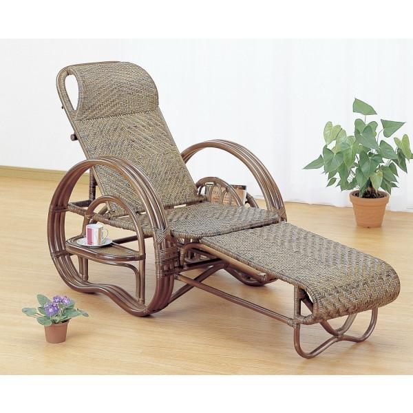 三つ折寝椅子 今枝商店 籐 ラタン 三つ折 リクライニング寝椅子 ダークブラウン色タイプ A202B A-202B
