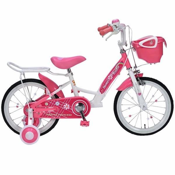 女の子のための 補助輪付き 子供用自転車 MD-12-PK 16インチ ジュニア 子供自転車 MyPallas マイパラス MD-12 ピンク色
