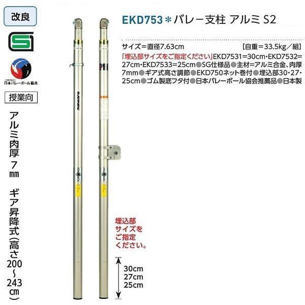 エバニュー 学校 体育 バレー支柱アルミS2 受注生産品 EKD753 <2019CON>
