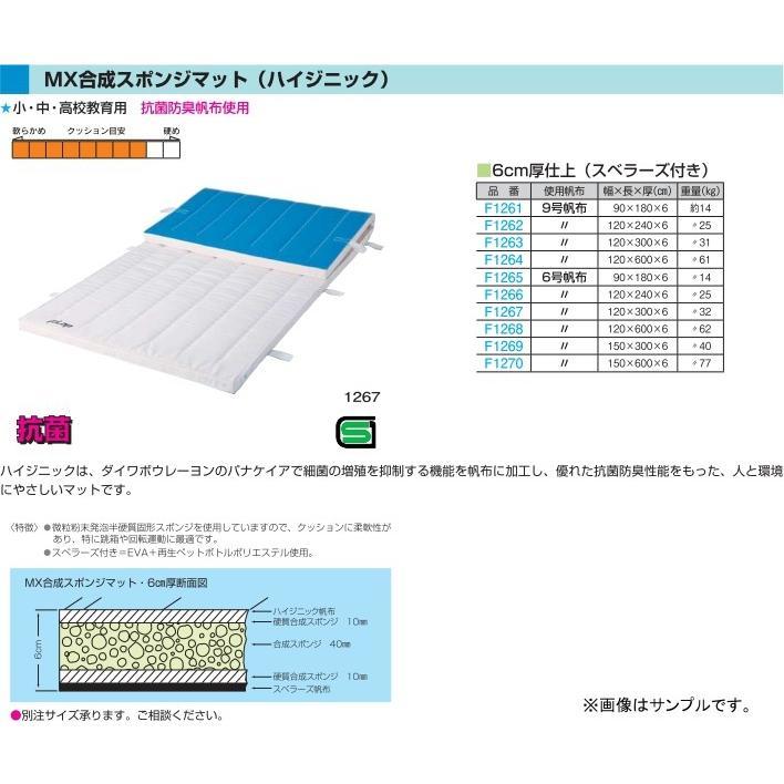 フラップ 学校 体育 体操マット MX合成スポンジマット(ハイジニック) 6号帆布 150×300×6cm 1269 <2019NP>