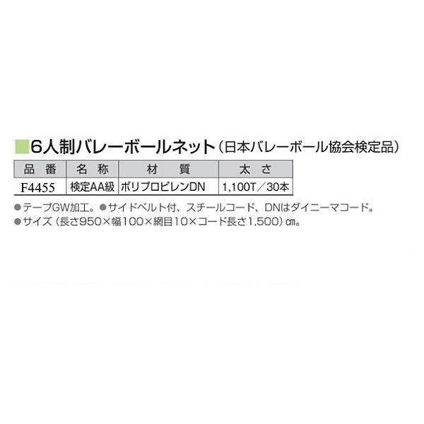 フラップ 学校 体育 6人制バレーボールネット(日本バレーボール協会検定品) 検定AA級 4455 <2019CON>