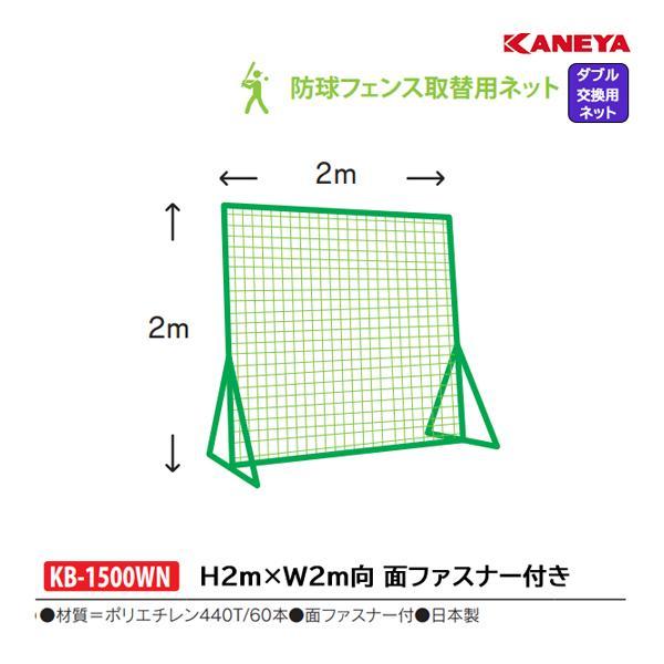 カネヤ 学校 部活 体育 野球 硬式・軟式兼用 取り替えネット2m×2mW KB-1500WN <2019NP>