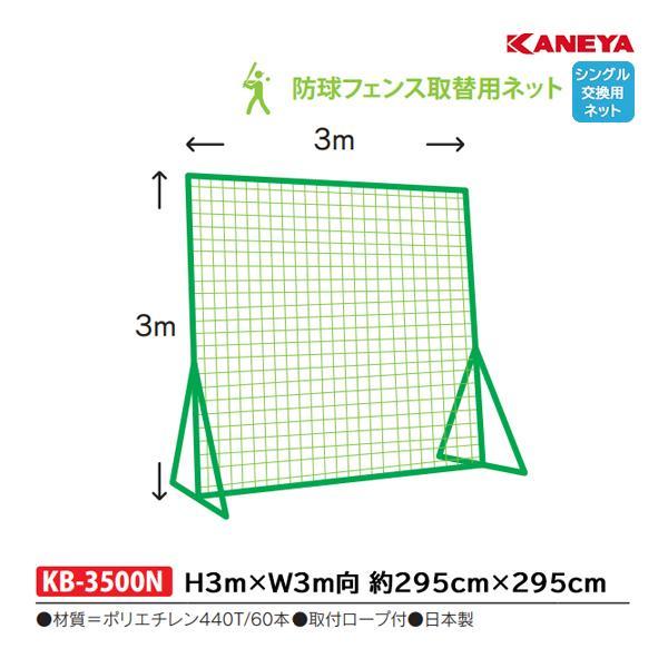 カネヤ 学校 部活 体育 野球 硬式・軟式兼用 取り替えネット3m×3m KB-3500N <2019NP>