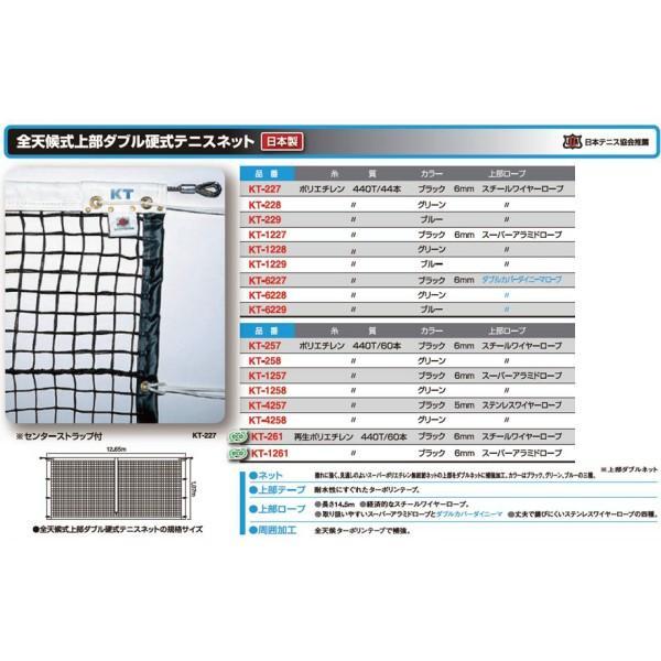 寺西喜 全天候式上部ダブル硬式テニスネット ブラック スチールワイヤーロープ KT-227 <2019CON>