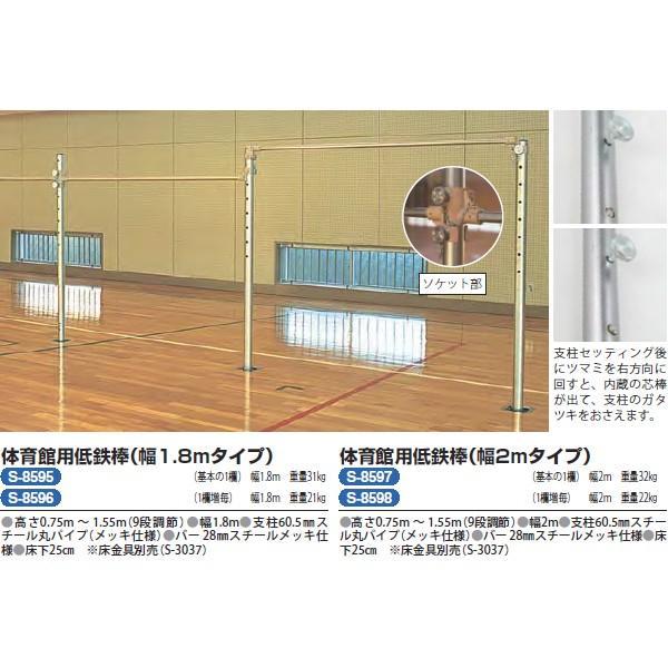 三和体育 学校 体育 体操 体育館用低鉄棒 欄増 巾1.8m S-8596 <2021CON>