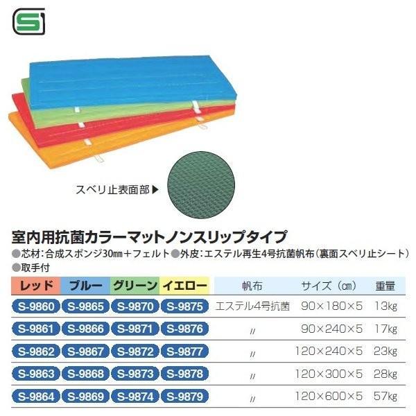 三和体育 室内用抗菌カラーマット ノンスリップタイプ (レッド) 90×180×5 S-9860 <2019CON>