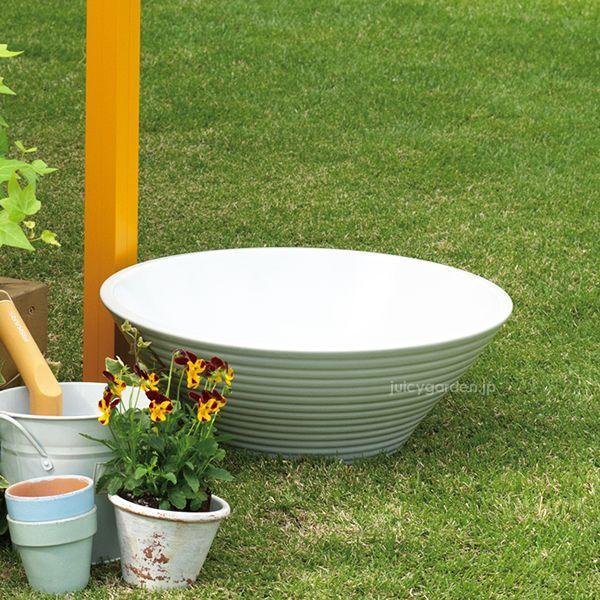 立水栓 水受け シンプルなガーデンポット「水鉢 ホワイト」