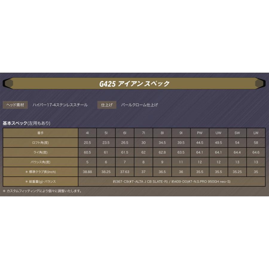 PING ピン G425 アイアン NS.950GH neo スチール 5本セット 6-PW(左右選択可) ネオ 日本仕様 グルッペ JUKO.IN GOLF ポイント10倍 juko-in 07