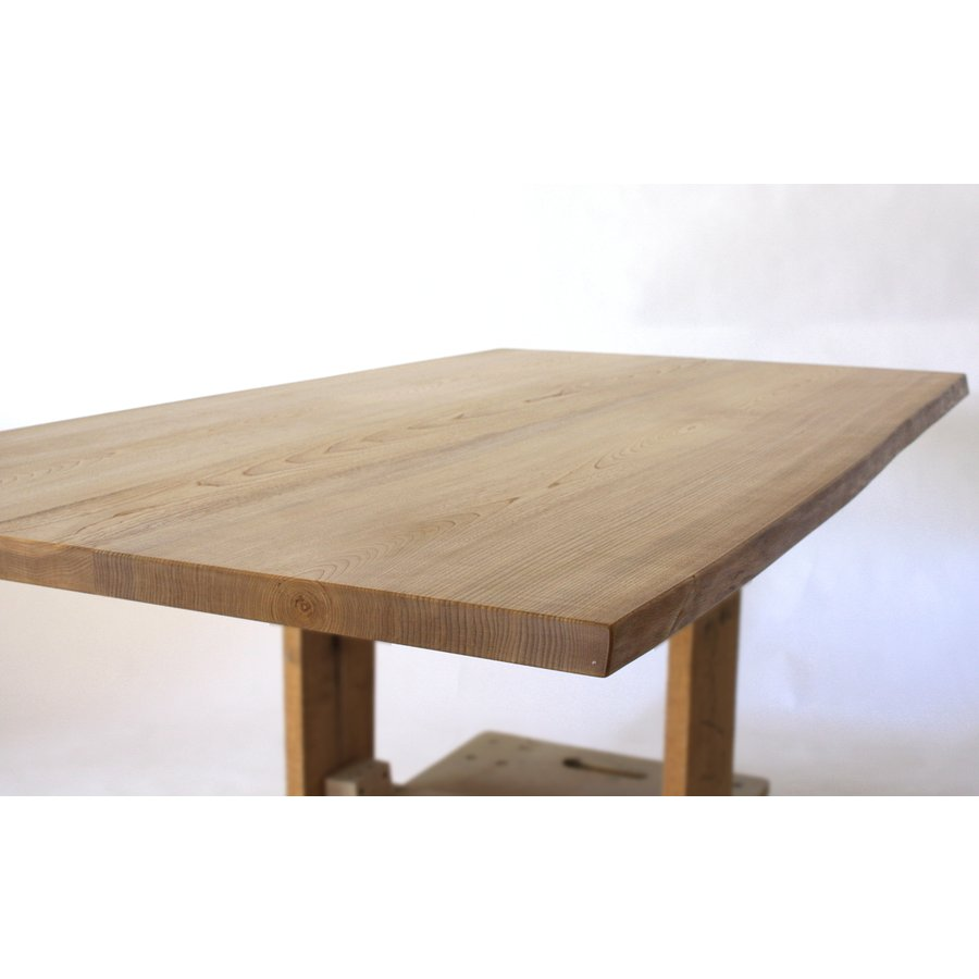 150x約80cm 国産無垢材ダイニングテーブル(オイル仕上)【岩泉純木家具公式ストア】 高さ1ミリ単位でオーダー可能 T型脚 セン材 ローテーブル 一枚板風|junboku|06