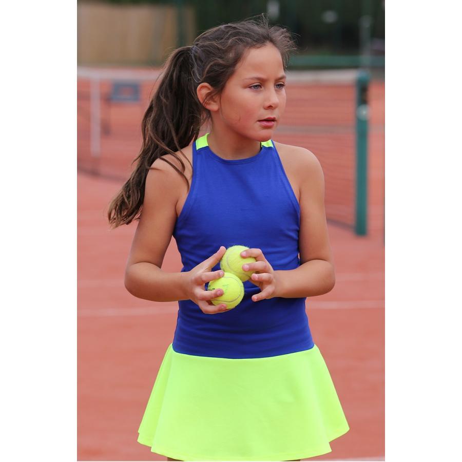 女の子用テニスウェア(2点セット:ワンピース&アンダースコート)Daria Racer Back 青 Tennis Dress