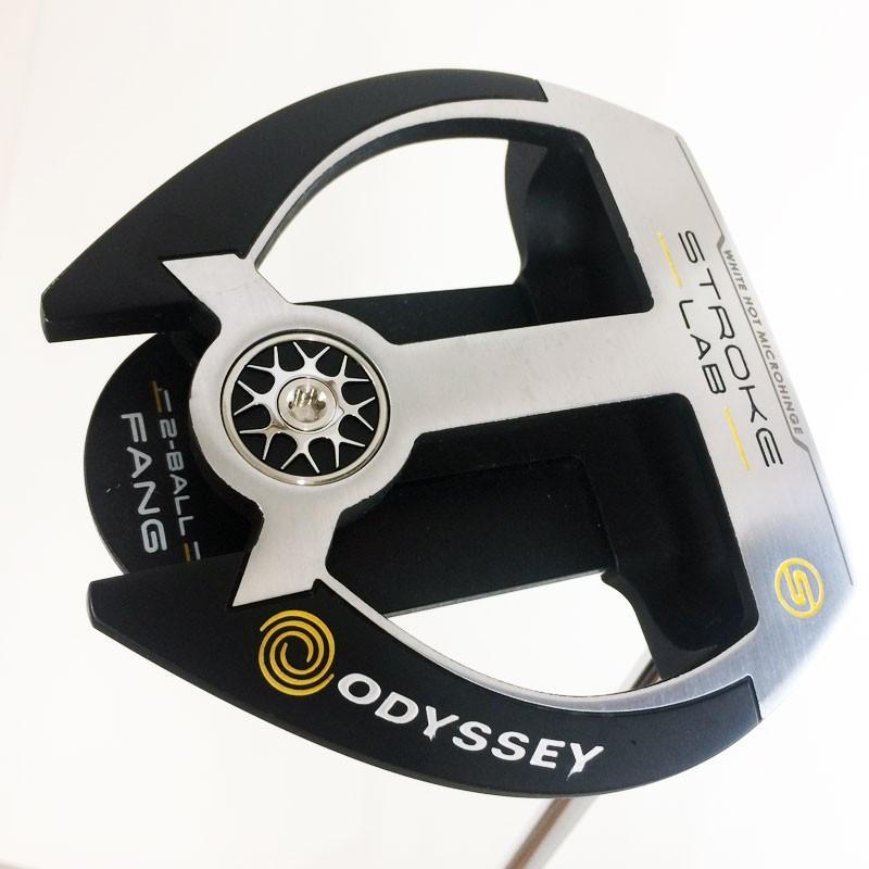 (中古)オデッセイ STROKE LAB 2-BALL FANG パター ヘッドカバーあり オリジナルスチールシャフト 右利き用 Bランク ODYSSEY