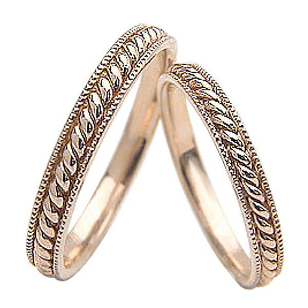 超激安 結婚指輪 ペアリング ピンクゴールドK18 マリッジリング ツイスト カップル ホワイトデー プレゼントに, ウジシ ef0df96f