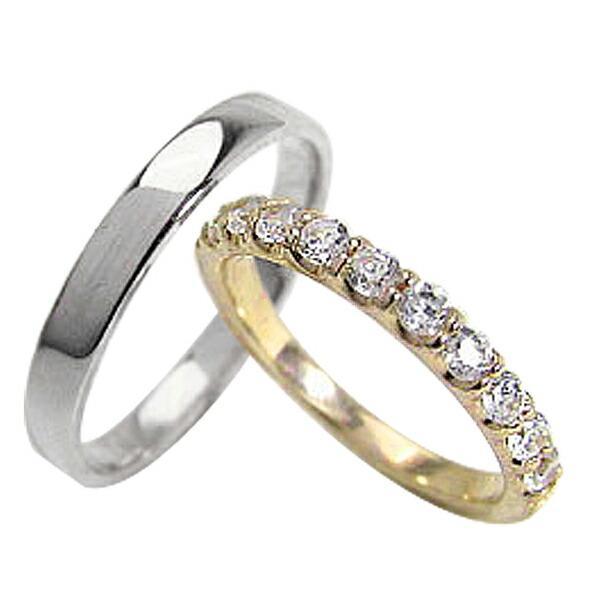 【新品】 結婚指輪 エタニティリング ダイヤモンド ペアリング マリッジリング K10YG K10WG カップル ホワイトデー プレゼントに, 中魚沼郡 f47e2060