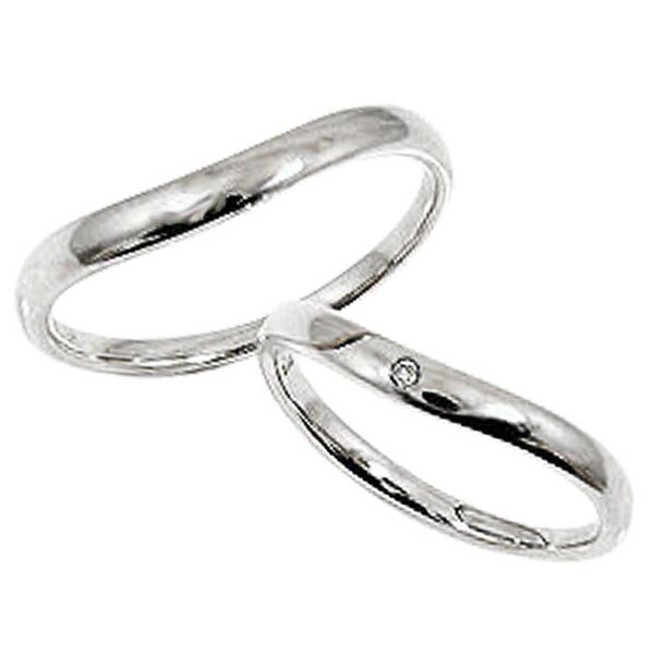 流行 結婚指輪 ペアリング ホワイトゴールドK18 ダイヤモンド K18WG マリッジリング 2本セット カップル ホワイトデー プレゼントに, シウラムラ 95cbf099