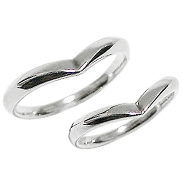 【最安値】 Vライン 結婚指輪 ペアリング ホワイトゴールドK18 マリッジリング カップル ホワイトデー プレゼントに, G-trade JAPAN 81d3dec0