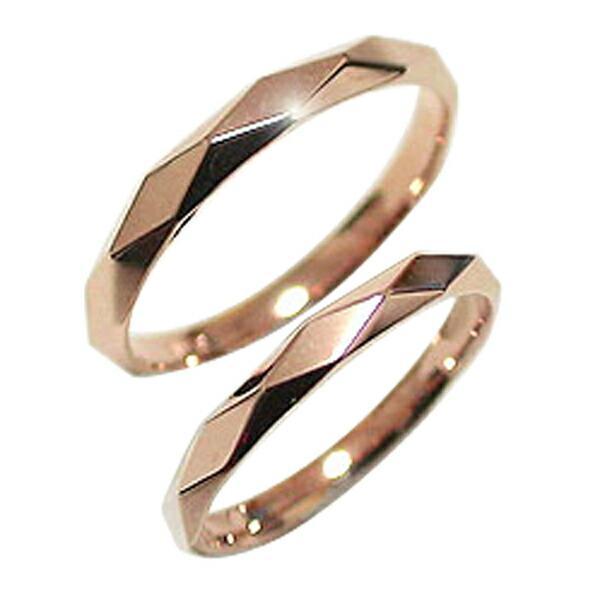 大洲市 結婚指輪 ひし形カット ペアリング ピンクゴールドK18 マリッジリング カップル ホワイトデー プレゼントに, sunsetmasu 888674f7