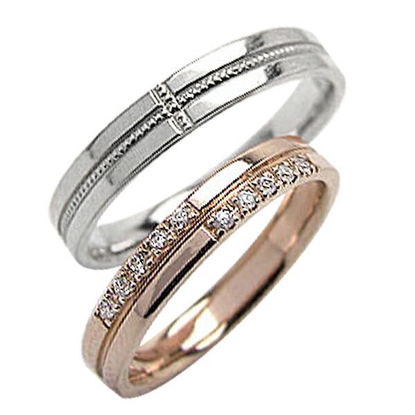 【あすつく】 結婚指輪 クロス ダイヤモンド ペアリング ミル打ち ピンクゴールドK18 ホワイトゴールドK18 マリッジリング カップル ホワイトデー プレゼントに, 金武町 8afd077d