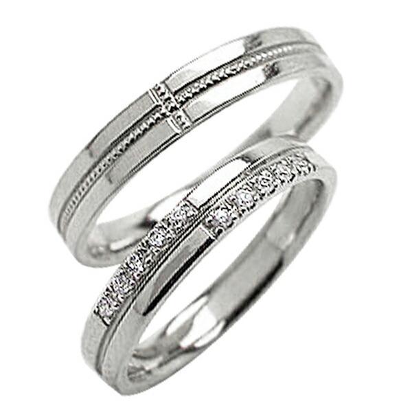 結婚指輪 ペアリング クロス ダイヤモンドリング ホワイトゴールドK10 ミル打ち マリッジリング  カップル  ホワイトデー プレゼント ギフト