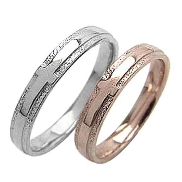 最大の割引 クロス 結婚指輪 ピンクゴールドK18 ホワイトゴールドK18 ペアリング マリッジリング 十字架 2本セット カップル ホワイトデー プレゼントに, サントクレア d6693639
