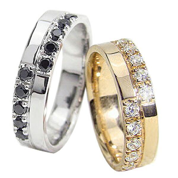 新しく着き 結婚指輪 クロス ダイヤモンド ブラックダイヤモンド ペアリング イエローゴールドK18 ホワイトゴールドK18 カップル ホワイトデー プレゼントに, 【人気商品!】 69435dae