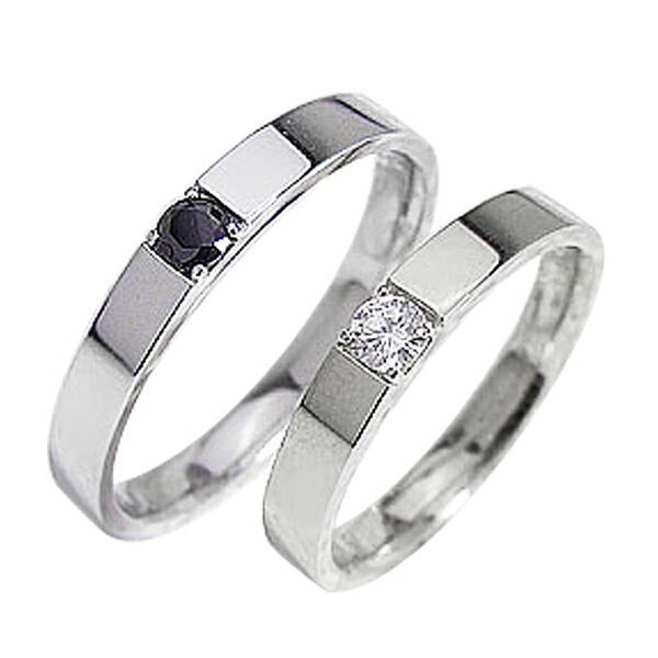 【有名人芸能人】 結婚指輪 一粒ダイヤモンド ブラックダイヤモンド ペアリング ホワイトゴールドK10 マリッジリング カップル ホワイトデー プレゼントに, 程一彦 龍潭 9cf0d467