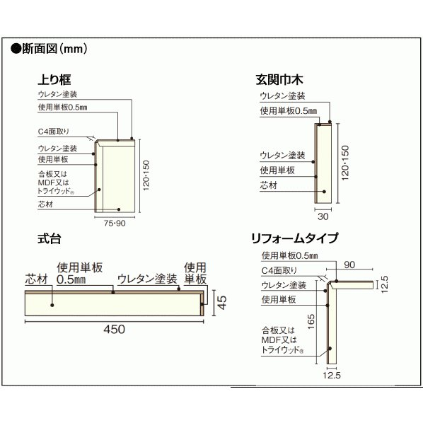 玄関廻り部材 上り框  1950×75×120mm  WOODONE ウッドワン 床材 フローリング|jyu-tus|03