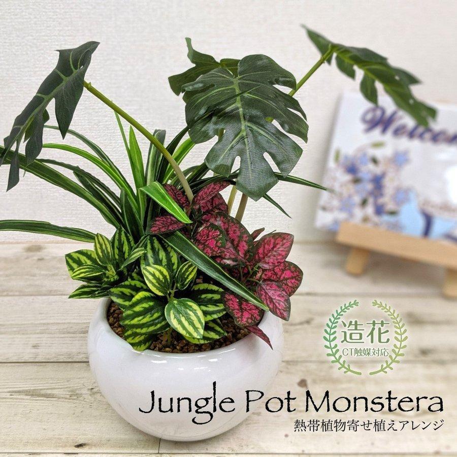 フェイクグリーン ミニ 贈与 人工 ランキングTOP5 観葉植物 造花 ジャングルポット 光触媒 テーブル 熱帯植物寄せ植えアレンジ CT触媒 リアル モンステラ