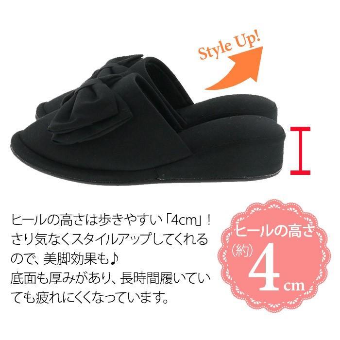 フォーマルスリッパ 4cmヒール ブラック 黒 フリル リボン(送料無料)|k-lalala|07