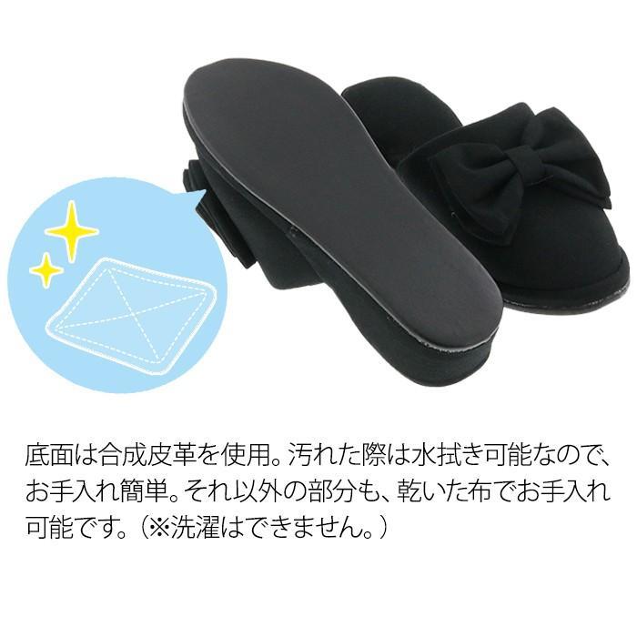フォーマルスリッパ 4cmヒール ブラック 黒 フリル リボン(送料無料)|k-lalala|08
