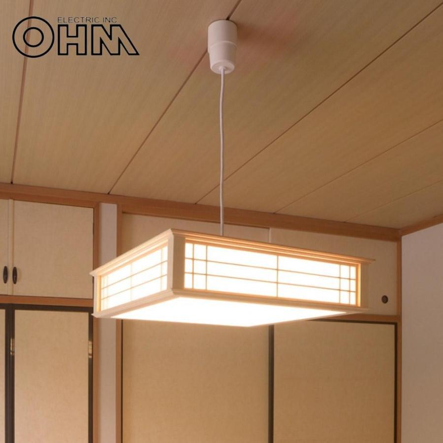 〔送料無料・メーカー直送〕オーム電機 OHM LED和風ペンダントライト 調光 8畳用 電球色 34W LT-W30L8K-K