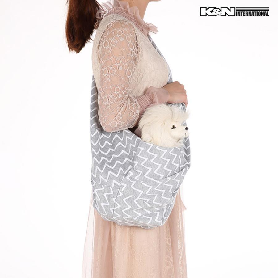 犬 ペット ダブルリング スリングバッグ 抱っこひも グレー 小型犬 猫用 サイズ調整可能 飛び出し防止フック 袋とじボタン付き 春夏秋冬モデル|k-n-int|03