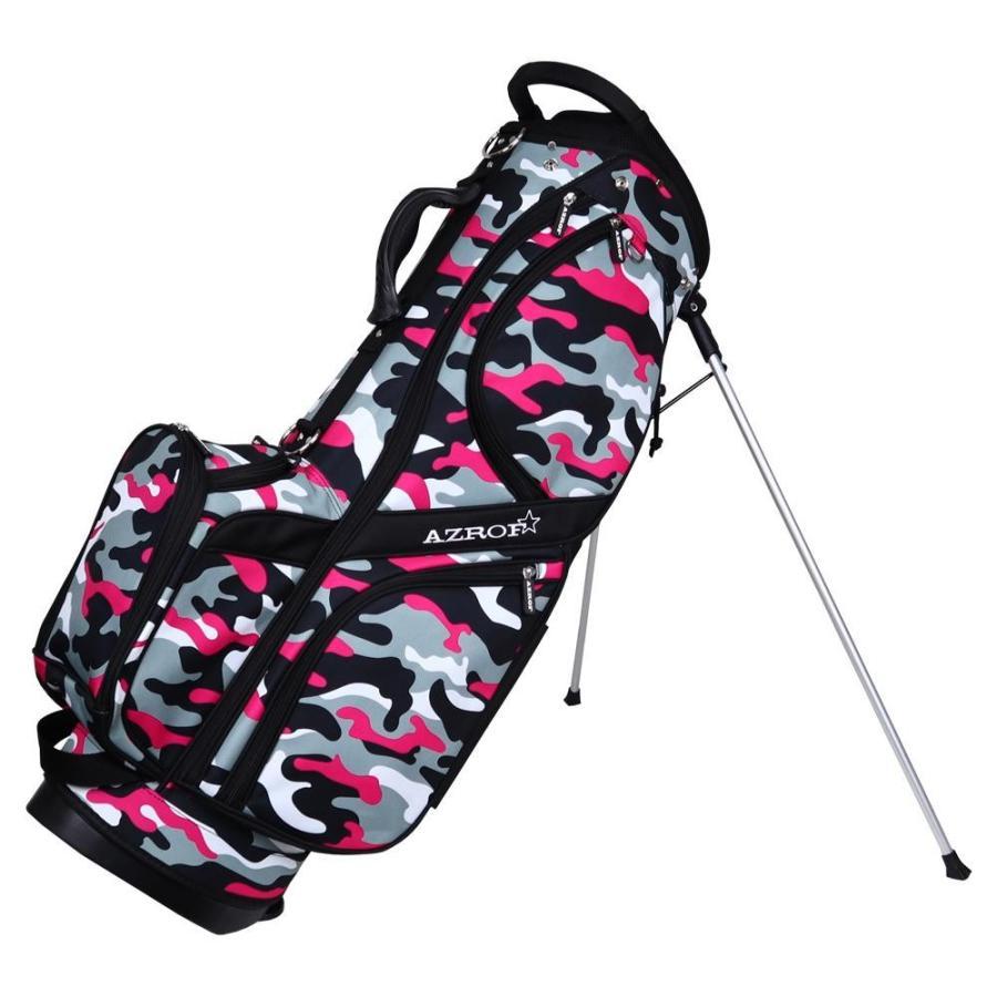 AZROF(アズロフ) スタンドキャディバッグ ネオカモフラピンク 176収納 ゴルフクラブ ゴルフバッグ