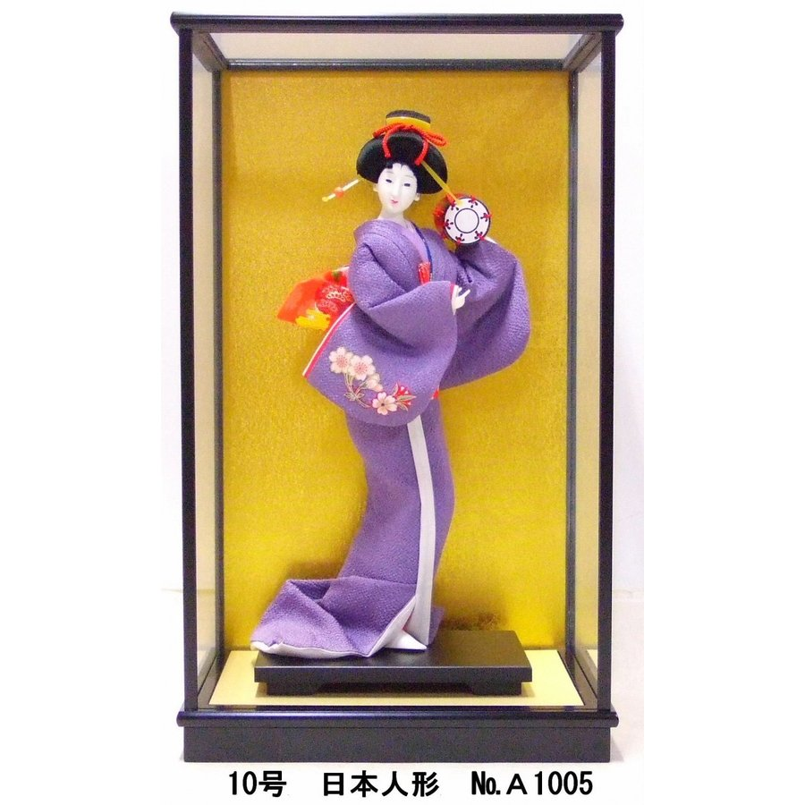 日本人形 10号 No.A1005 ガラスケース付 プレゼント お土産 贈り物 ケース 寸法 間口32.5cm×奥行24.5cm×高さ54.5cm