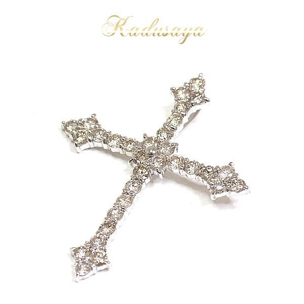 K18WG ダイヤモンド クロス ペンダントトップ W2.5×H3cm D1.00ct 仕上げ済【中古】|kadusaya78