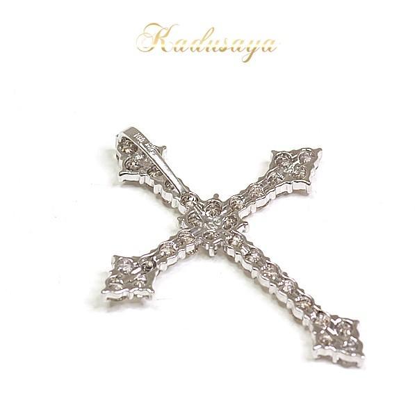 K18WG ダイヤモンド クロス ペンダントトップ W2.5×H3cm D1.00ct 仕上げ済【中古】|kadusaya78|02