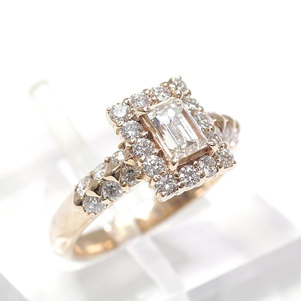 K18ピンクゴールド ダイヤモンド デザインリング 10号 K18PG 0.501/0.72ct 750PG バゲットカット 仕上げ済 中古|kadusaya78|02