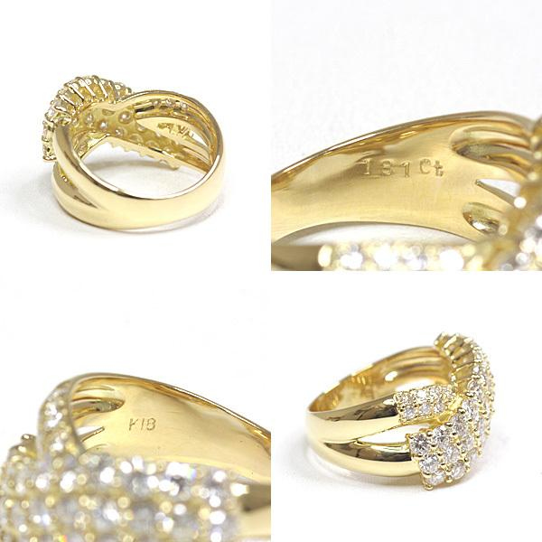 K18YG ダイヤモンド デザインリング 12号 イエローゴールド D.1.81ct クロス 2連風 仕上げ済 中古|kadusaya78|03