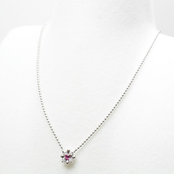 スタージュエリー STAR JEWELRY  K18WG ルビー デザインネックレス ルビー/ダイヤモンド(0.04ct) 約40cm ホワイトゴールド 花 フラワー 仕上げ済 中古|kadusaya78