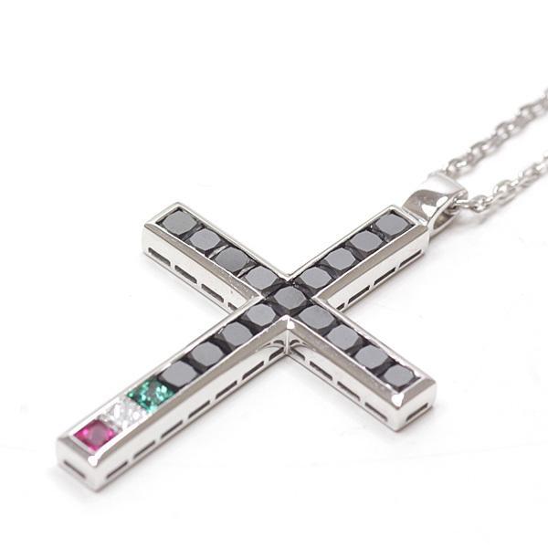 ダミアーニ DAMIANI クロス ネックレス K18WG ブラックダイヤモンド カラーストーン 54/43cm 72847398 750WG ホワイトゴールド 仕上げ済 中古|kadusaya78|02