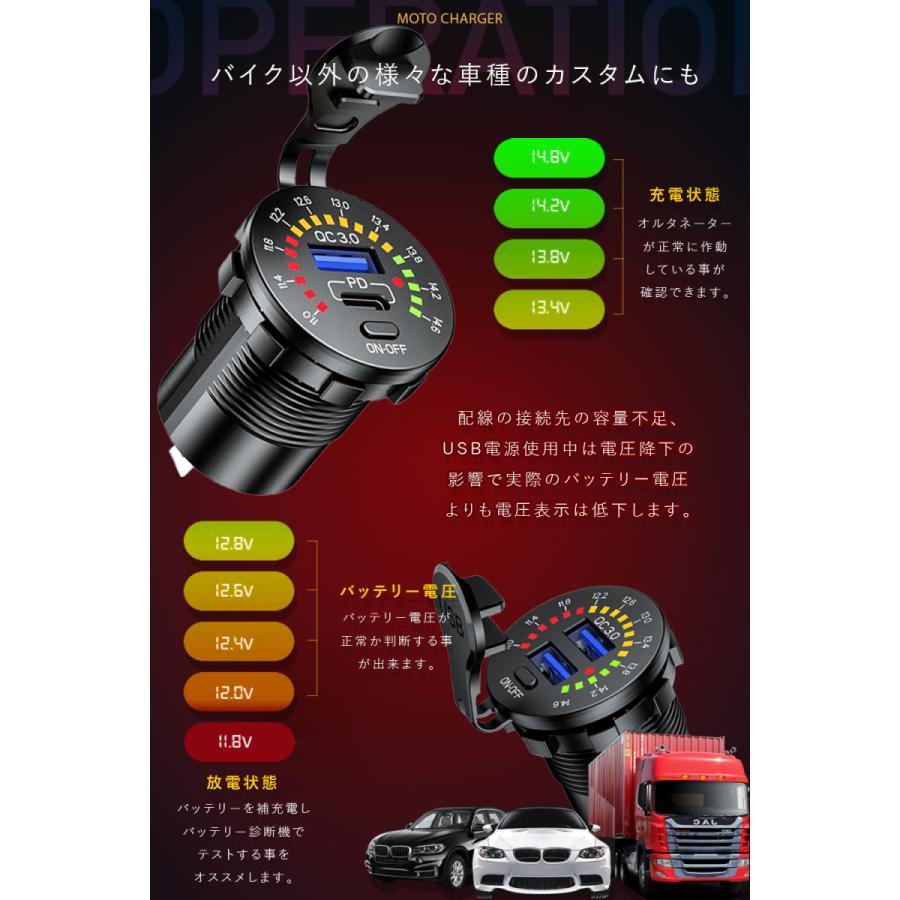 Kaedear カエディア バイク USB 電源 急速 充電 デュアル 2 ポート 充電器 QC3.0 電圧計 12V-24V DC12V 車 オートバイ ボート マリン|kaedear|04