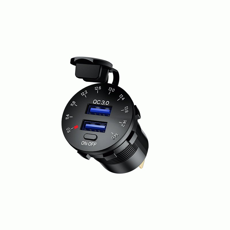 Kaedear カエディア バイク USB 電源 急速 充電 デュアル 2 ポート 充電器 QC3.0 電圧計 12V-24V DC12V 車 オートバイ ボート マリン|kaedear|07